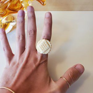 3/30$ 🍂 Hand Carved Natural Bone Round Abstract Cream Etched Statement Ring